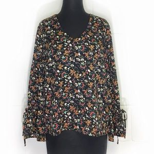 J. Crew Mercantile Floral Blouse With Bell Sleeves